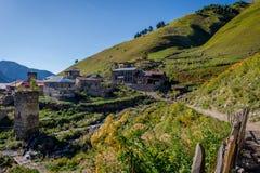 Adishi-Dorf, Svaneti, Georgia Stockbild