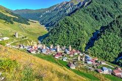 Adishi-Dorf, Svaneti, Georgia Lizenzfreies Stockfoto