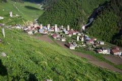 Adishi-Dorf in Svaneti, Georgia Lizenzfreie Stockbilder