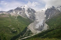 Adishi glacier, Svaneti. Famouse place in Caucasus - Upper Svaneti with beautiful view at Adishi glacier Stock Photography