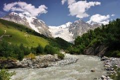 Adishi Gletscher mit Adishi Waldung Lizenzfreie Stockbilder