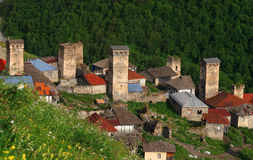 Adishi village in Svaneti Stock Image