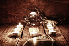 Adivinación futura de la vela de la caja Foto de archivo