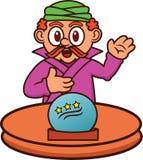 Adivino con Crystal Ball Cartoon mágico Foto de archivo