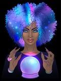 Adivino con la bola cristalina Ejemplo lindo espeluznante del vector ilustración del vector