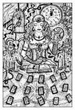 Adivino con las cartas de tarot, ejemplo dibujado mano ilustración del vector
