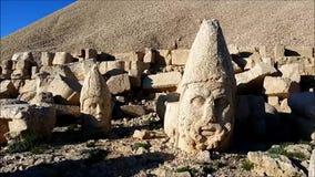 West terrace of Mount Nemrut, Turkey. Adiyaman, Turkey - May 27, 2017: Statues of West terrace at Mount Nemrut on May 27, 2017. The UNESCO World Heritage Site at stock video footage