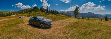 ADJARA, GEORGIA, 08 August 2017: Car travelling unpaved country Royalty Free Stock Image