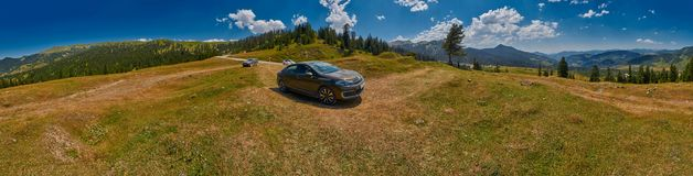 ADJARA, GEORGIA, 08 August 2017: Car travelling unpaved country Stock Photo