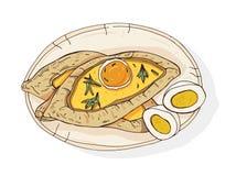 Adjaran öppen khachapuri Den traditionella georgiern fartyg-formade pajen med ost och som överträffade med det rå ägget och smör  royaltyfri illustrationer