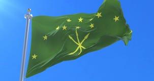 Adjara flag waving at wind in slow with blue sky, loop. Adjaran flag waving at wind in slow with blue sky, loop stock video footage