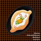 Adjarian Acharuli/Adjaruli öppnar khachapurien - den traditionella georgiska maträtten som tjänas som med ägget och smör stock illustrationer