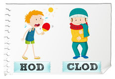 Adjective hot and cold. Illustration Stock Images
