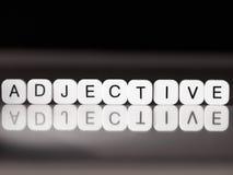 Adjektivwort Stockfoto