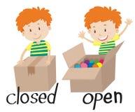 Adjetivo opuesto cerrado y abierto stock de ilustración