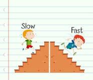 Adjetivo opuesto lento y rápido libre illustration