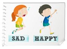 Adjetivos opuestos con triste y feliz ilustración del vector