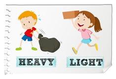 Adjetivos opuestos pesados y ligeros stock de ilustración