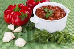 Adjika świeży czerwony pieprz Fotografia Stock