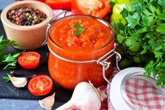 Adjika грузинский национальный соус сделанный перца, чеснока стоковое изображение