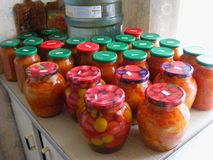 Adjika and pickles in jars, russian cuisine, concept of homemade organic canning in village royalty free stock images