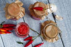 Adjika, red tomato sauce Royalty Free Stock Photography