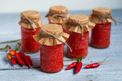 Adjika, red tomato sauce with pepper Royalty Free Stock Photography