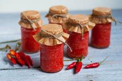 Adjika, rote Tomatensauce mit Pfeffer Lizenzfreie Stockfotografie