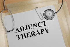 Adjunct Therapy - medical concept. 3D illustration of ADJUNCT THERAPY title on a document Royalty Free Stock Images