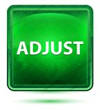 Adjust Neon Light Green Square Button. Adjust Isolated on Neon Light Green Square Button stock illustration