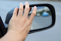 Adjust wing mirror Royalty Free Stock Photo