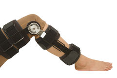 Adjustable angle knee brace support for leg or knee injury. Isolate Royalty Free Stock Photos