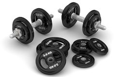 Adjustable dumbbells. With disks, basketball and skateboard lie on a white surface. . 3D Illustration Stock Image