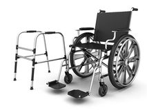 Adjustable folding walkers for the elderly and wheel chair. On a white background. 3D illustration Royalty Free Stock Images