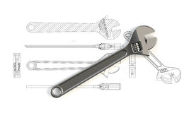 Adjustable Large Wrench With Charts Stock Image