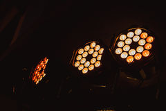 Adjustable LED light system. For stage or overall coverage for a party in a venue. Selective focus Stock Image