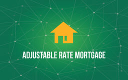 Adjustable rate mortgage white text illustration with yellow house silhouette and green constellation as background. Vector Royalty Free Stock Images