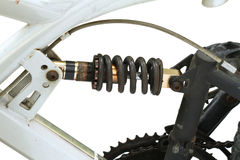 Adjustable shock absorber on bicycle Royalty Free Stock Photo