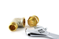 Adjustable spanner and fittings Stock Photography