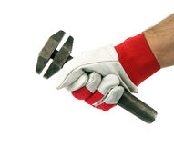 Adjustable spanner in hand Royalty Free Stock Photo