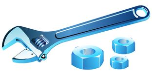 Adjustable spanner with screws. Isolated on white Royalty Free Stock Photo