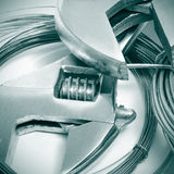 Adjustable spanners and wire Royalty Free Stock Images