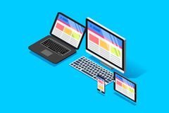Web adjustable page view concept. Adjustable web page view on different device display. Isometric design vector illustation Royalty Free Stock Image