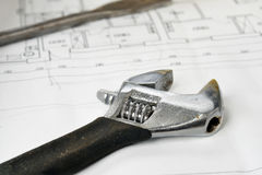 Adjustable wrench Stock Photo
