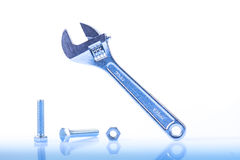 Adjustable Wrench And Screws Stock Image