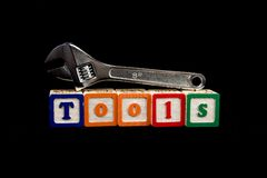 Adjustable wrench on blocks Stock Images