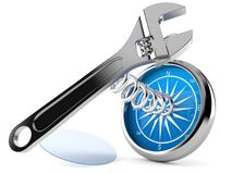 Adjustable wrench with compass. On white background Stock Images