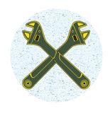 Adjustable wrench. Icon with two adjustable wrench blue background Stock Image