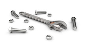 Adjustable wrench nuts and bolts Stock Photo