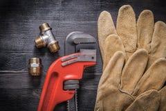 Adjustable wrench plumbing fittings protective Stock Image
